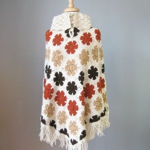 Vintage 1960s  Fringed Crocheted Poncho